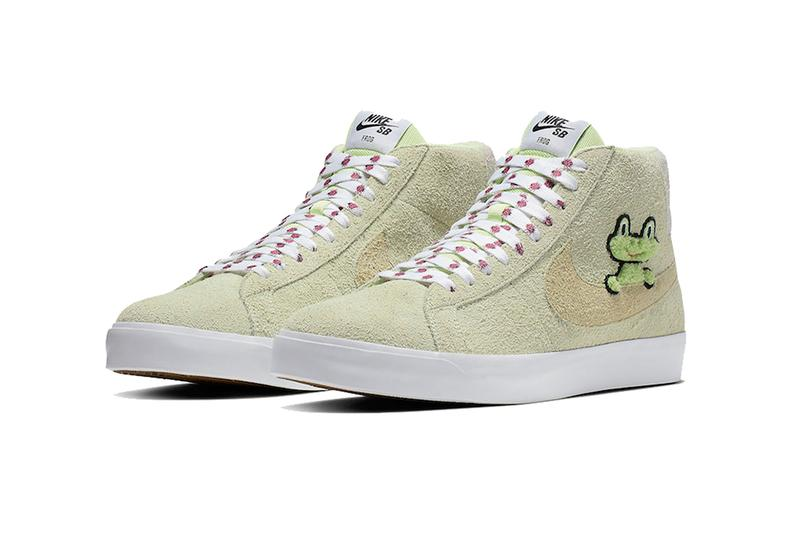 frog skateboards nike sb blazer mid qs 2019 march footwear release date AH6158-300 ladybug lady bug bugs Light Liquid Lime White Light Crimson Lawn