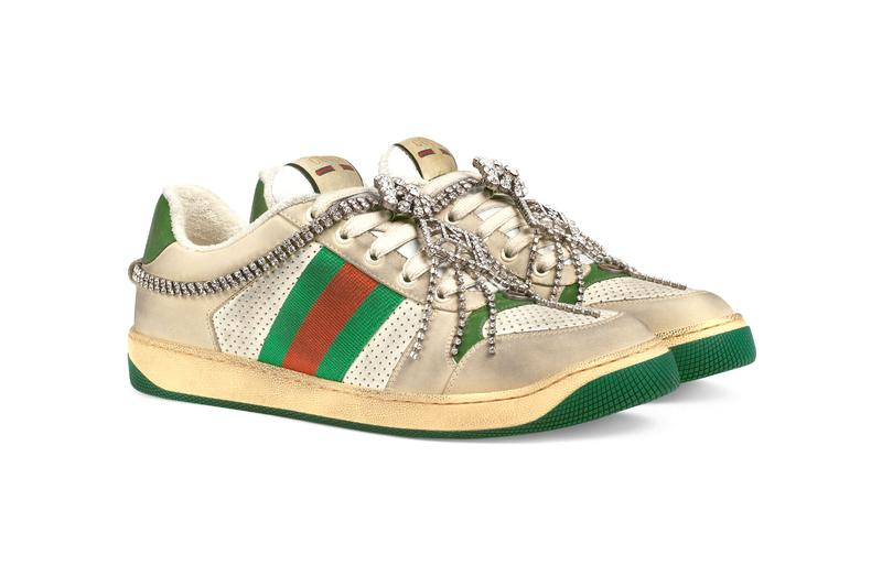 cc6936a4a52 Gucci GG Crystal Chain Screener Sneaker Release crystal footwear shoes  Italian Kicks Trainers