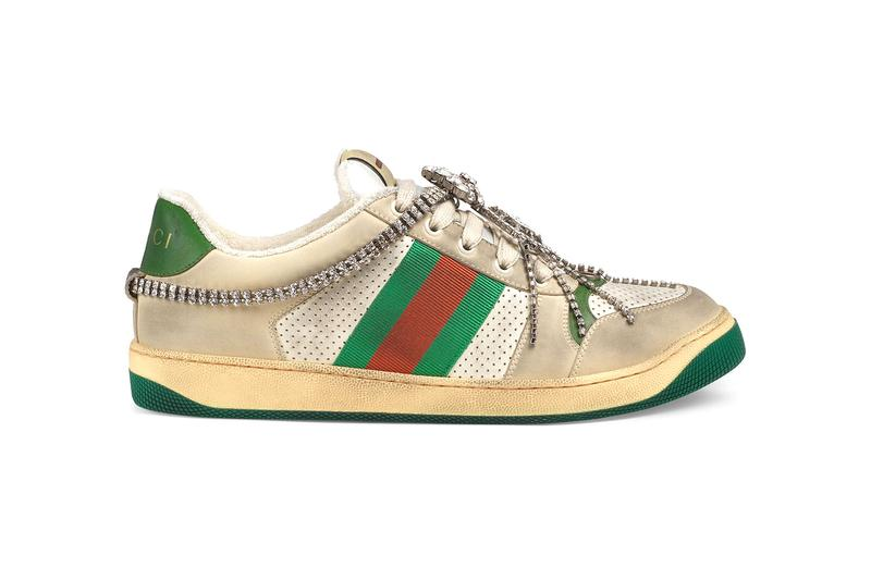 Gucci GG Crystal Chain Screener Sneaker Release crystal footwear shoes Italian Kicks Trainers