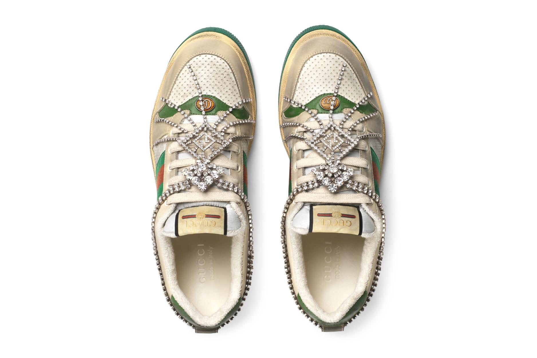 Gucci GG Crystal Chain Screener Sneaker