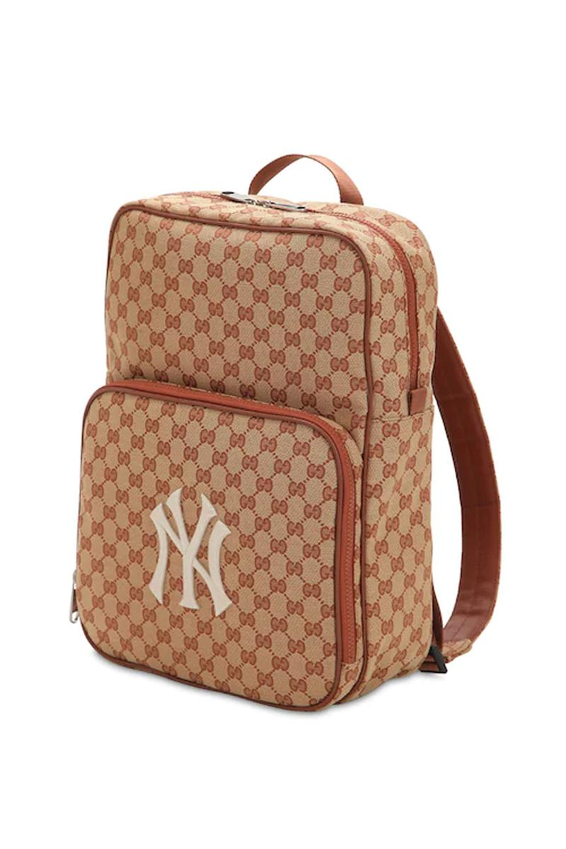 gucci gg supreme logo new york yankees backpack beige colorway release mlb luisaviaroma luisa via roma