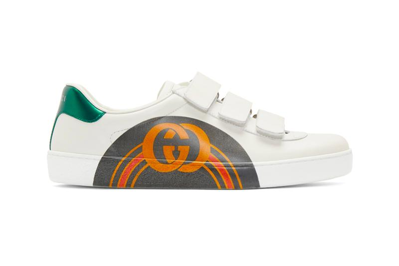 5db8152cf67 Gucci Dresses Its New Ace Sneakers With an Arched GG Midfoot Print. Along  with a three strap velcro lockdown.