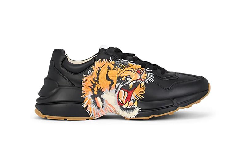 12d12acd1 Gucci Rhyton Tiger Print Black Leather Sneakers | HYPEBEAST