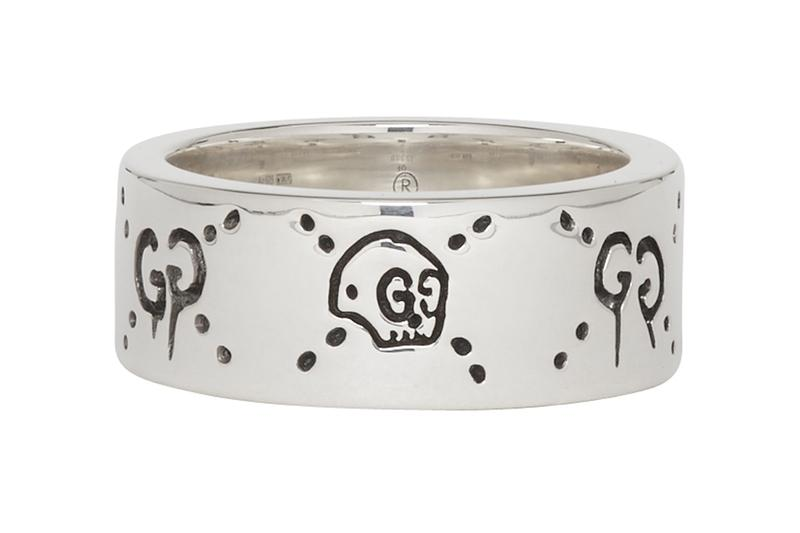 gucci silver ghost ring ssense