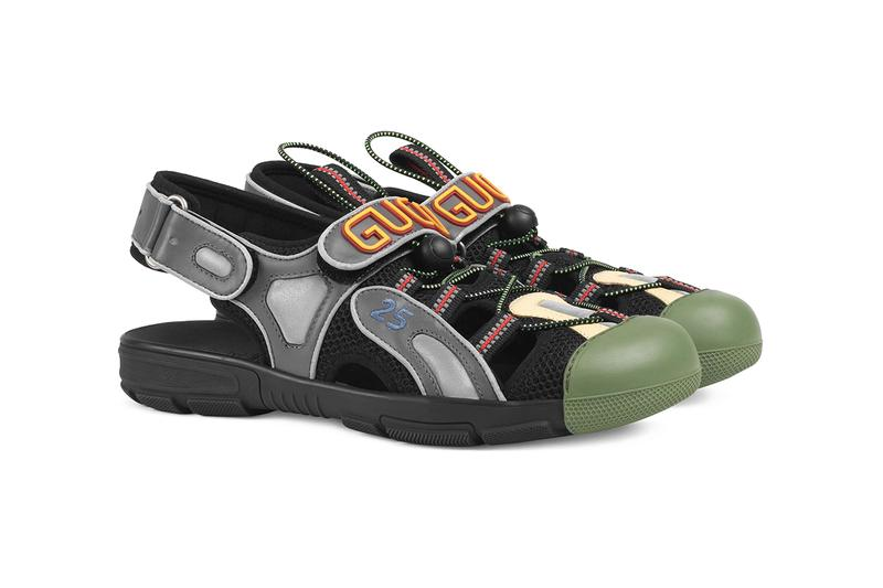 Gucci Mens Leather Mesh Sandal Hybrid Sneaker Chunky Sole Unit Slingback