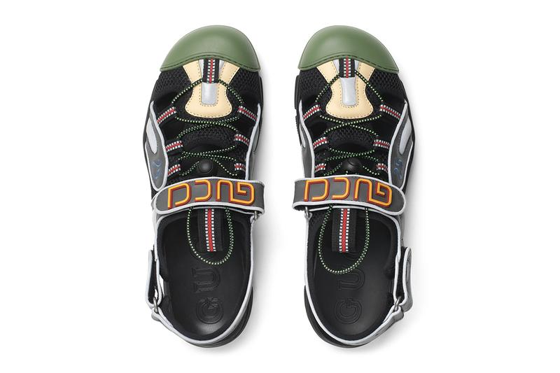 6e61fccd7841 Gucci Mens Leather Mesh Sandal Hybrid Sneaker Chunky Sole Unit Slingback