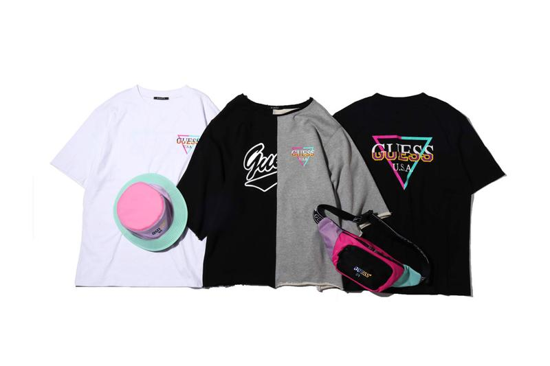 atmos Guess Capsule Collection SS19 Spring Summer 2019 Release Cut and Sew Split T Shirts Multi Logo Vintage Pastel OG Bucket Hat Jersey Sweat Loopack Old School Waist Bum Bag
