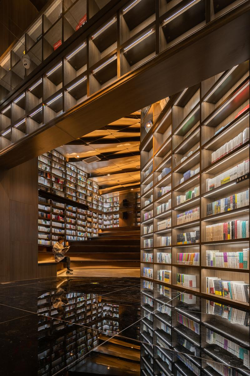 guiyang zhongshuge bookstore xliving architecture architects cave optical illusion design