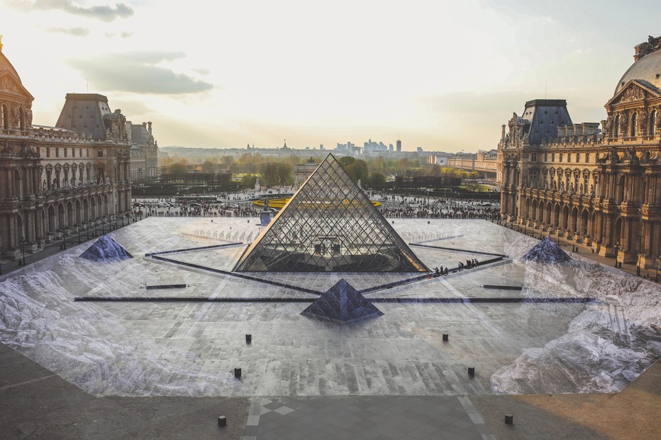 French Artist JR Transforms Musée du Louvre With Massive Optical Illusion