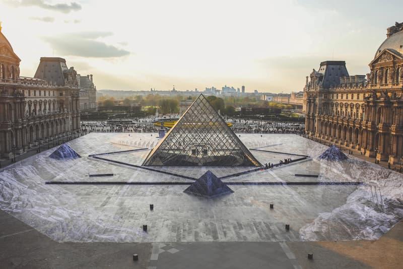 Street Artist JR Transforms Paris' Louvre Museum optical illusion street art pasting Musée du Louvre