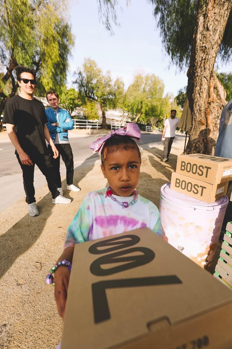 "Kanye West Sets up YEEZY Lemonade Stand for Charity Kim Kardashian YEEZY Boost 700 V2 ""Geode"" north west adidas pop ups"