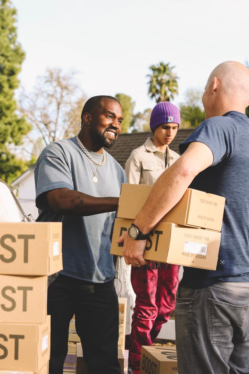 "Kanye West Sets up YEEZY Lemonade Stand for Charity Kim Kardashian YEEZY Boost 700 V2 ""Geode"" north west adidas pop ups"