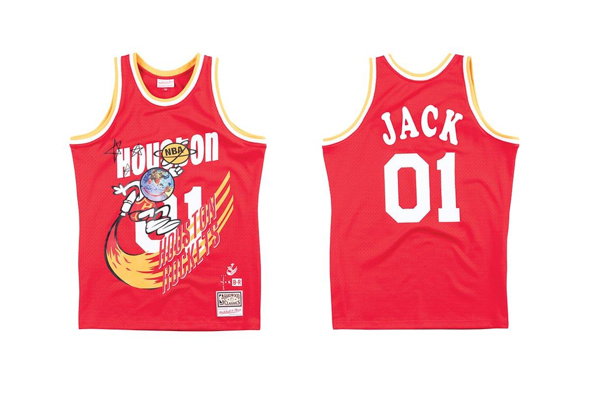 Mitchell & Ness Bleacher Report NBA Remix Campaign Travis Scott Houston Rockets Astroworld Cactus Jack Records T shirt Jersey