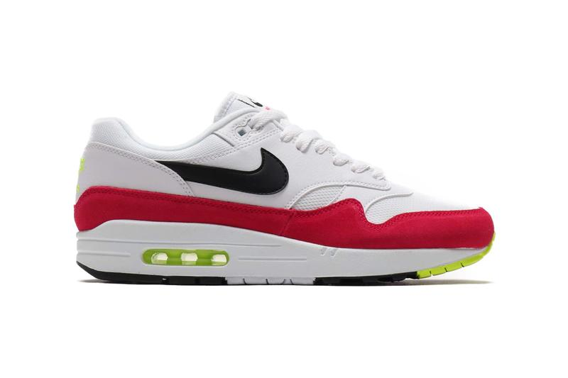 online store 13232 52f00 Nike Air Max 1 White Black-Volt-Rush Pink