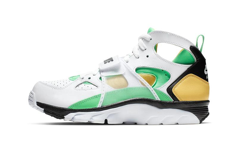 ea146d4011a2 Nike Air Trainer Huarache White Topaz Gold Black Electro Green Release