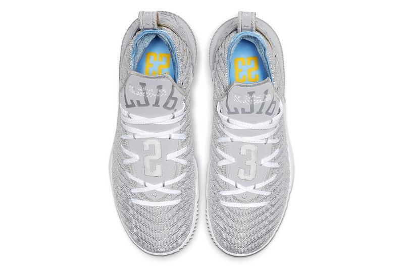 Nike LeBron 16 MPLS James Basketball Shoe Sneaker Wolf Grey White University Blue CK4765-001 Minneapolis Lakers Los Angeles LA Heritage Colorway Gold Trim