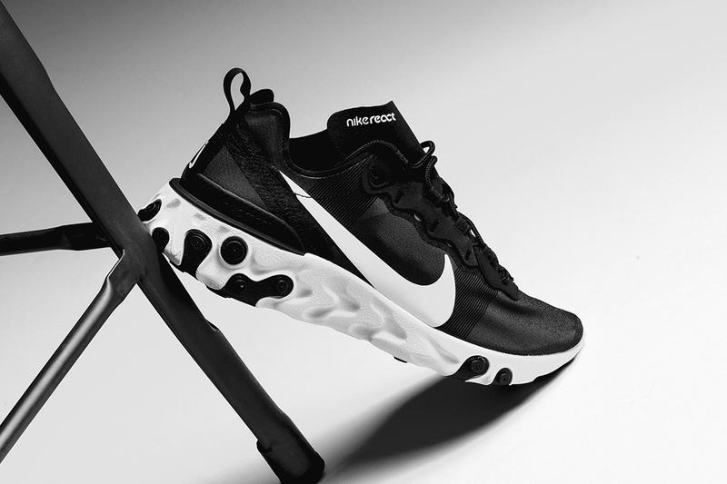 "Nike React Element 55 ""Black/White"" Release swoosh"