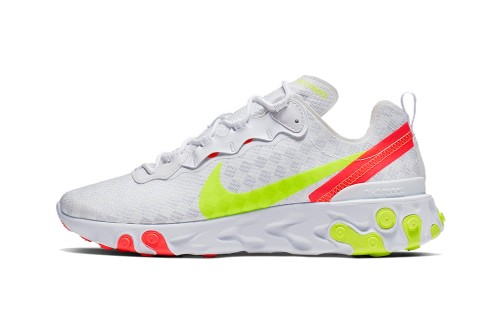 The Nike React Element 55's Checkerboard Upper Is Done in Crisp White