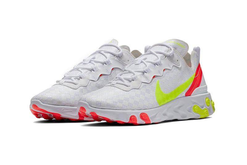 nike react element 55 white crimson volt 2019 spring footwear nike sportswear