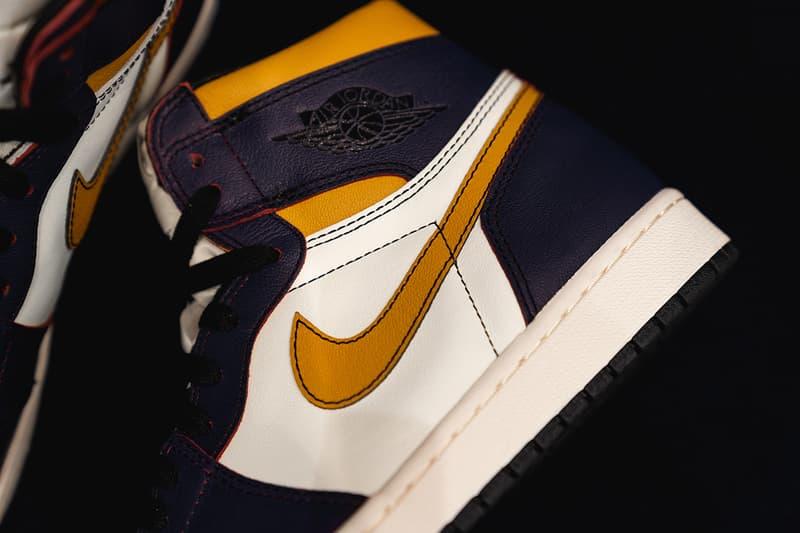nike sb air jordan 1 retro high og closer look 2019 march footwear court purple black university gold light bone black crimson tint hyper pink