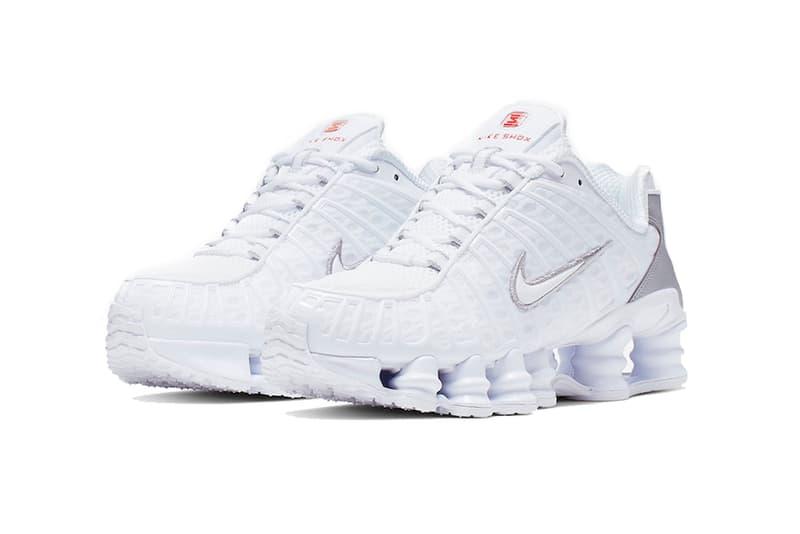 nike shox tl white metallic silver 2019 footwear nike sportswear