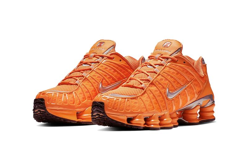 sale retailer ce9c4 b8928 nike shox tl total orange silver triple black 2019 march footwear sportswear