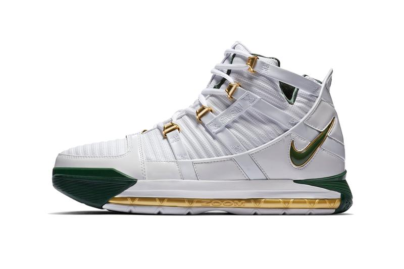 reputable site 2f611 5e1eb nike zoom lebron 3 svsm 2019 march release information nike basketball  footweat lebron james away green