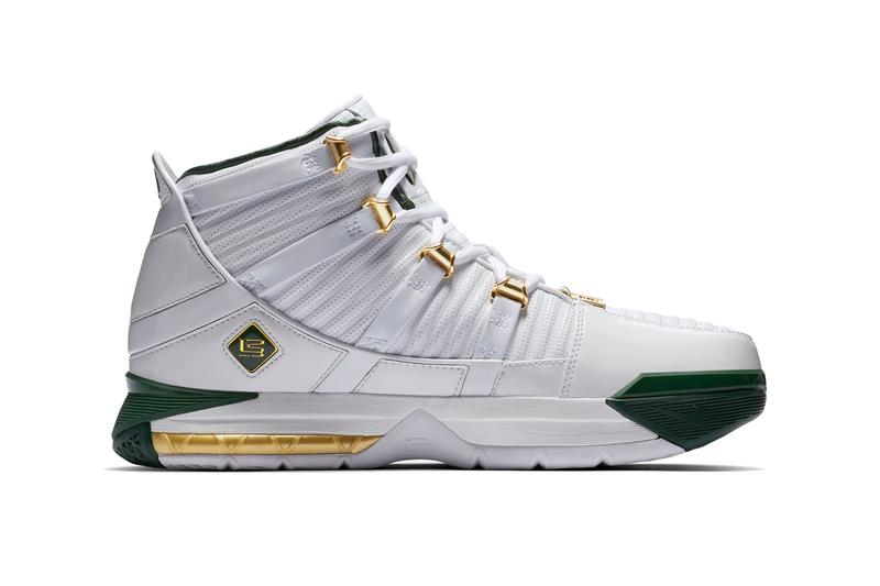 nike zoom lebron 3 svsm 2019 march release information nike basketball footweat lebron james  away green gold white