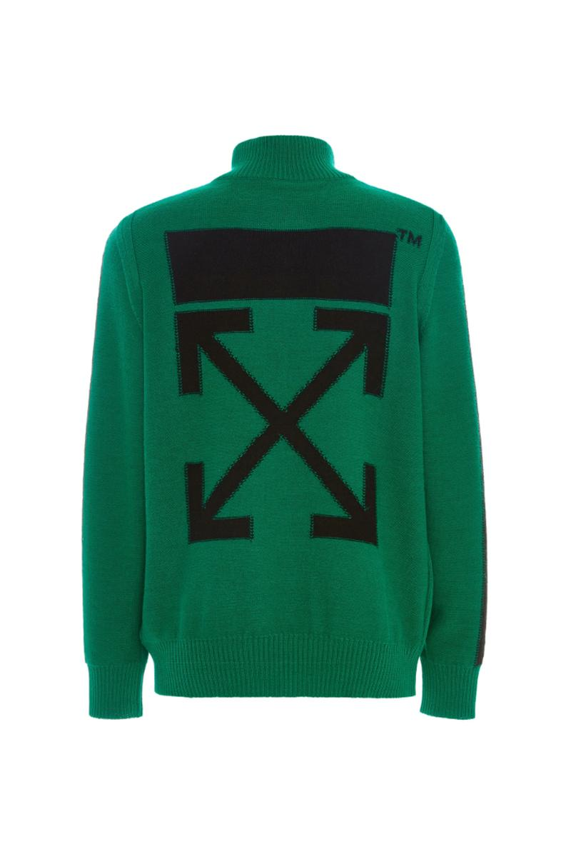 off white green zip turtleneck sweater release resort 2019 moda operandi