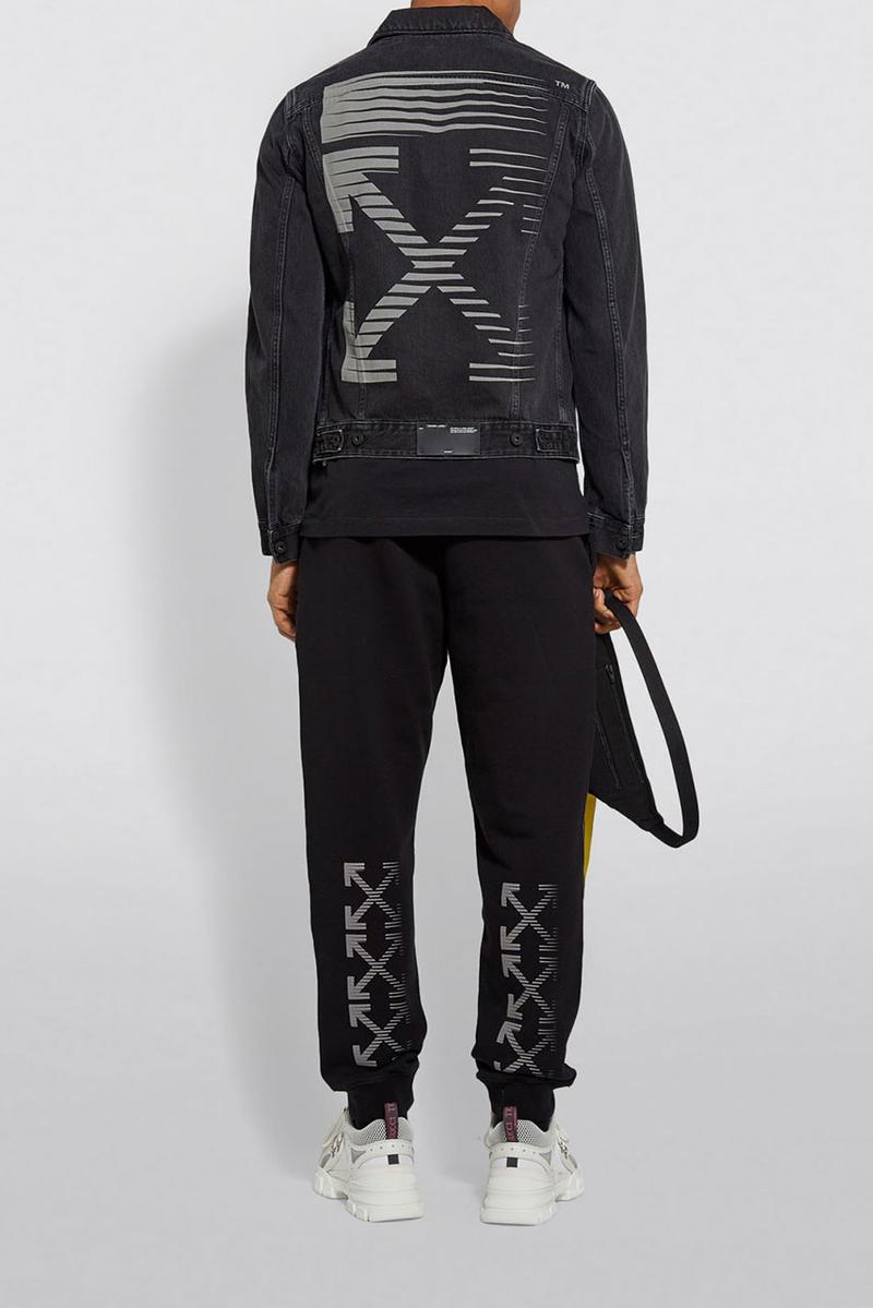 Off-White™ for Harrods SS19 Reflective Capsule collection collaboration exclusive limited edition logo hoodie tee shirt jacket denim sweatpants branding x virgil abloh black