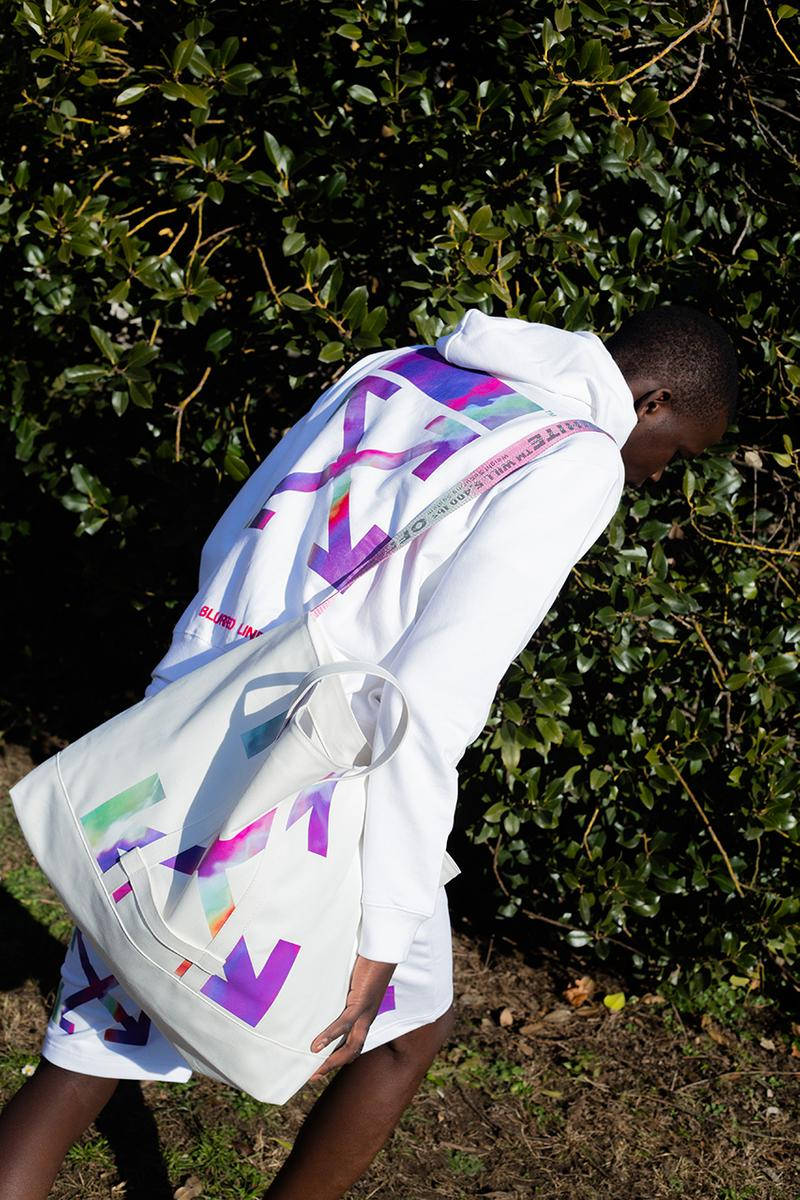 OFF-WHITE c/o Virgil Abloh™ Jakarta Exclusive Capsule Collection Trippy Swirling Rainbow Pattern Blurred Lines Flagship Drop Hoodie T Shirt Utility Belt Holdall Carry On Hand Bag Tracksuit Bottoms Branding X Cross