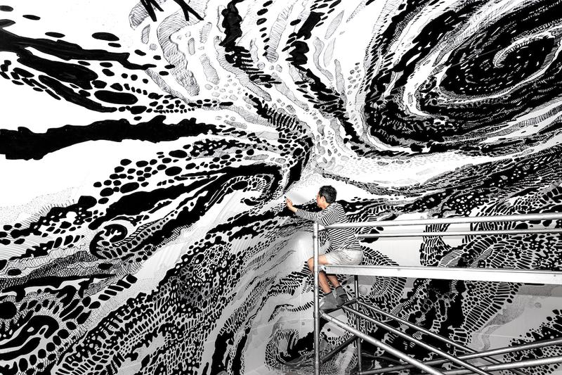oscar oiwa visionaire black and light immersive mural new york city installation artwork