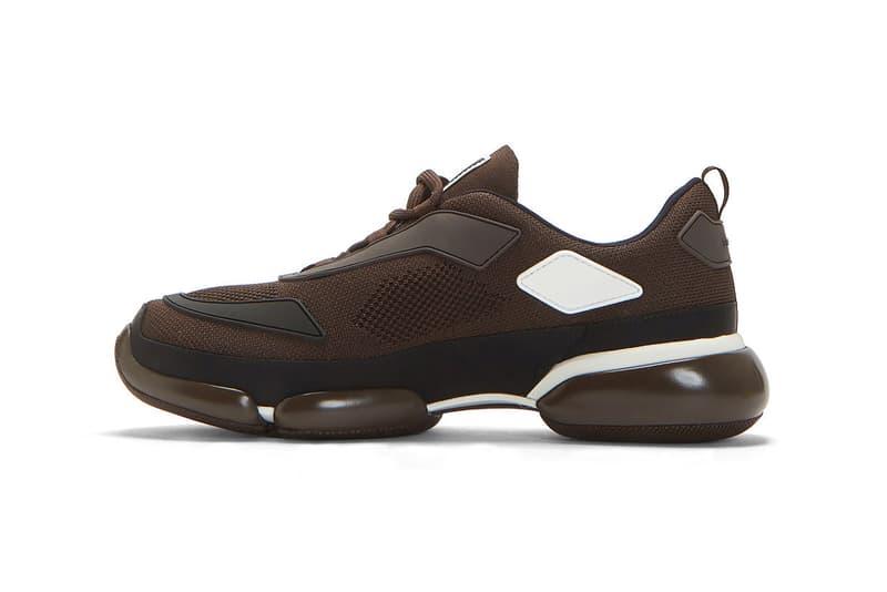 prada cloudbust brown knit mesh sneakers release lncc