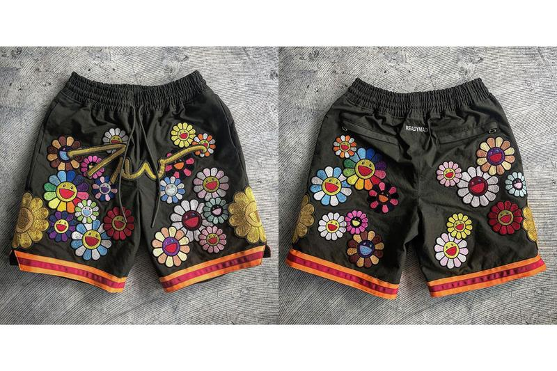 READYMADE Gifts Takashi Murakami One-Off Shorts flower patch vintage material army textile exclusive basketball script