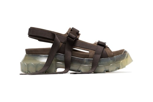 Rick Owens Drops Clear-Soled Tractor Sandals in Grey Suede