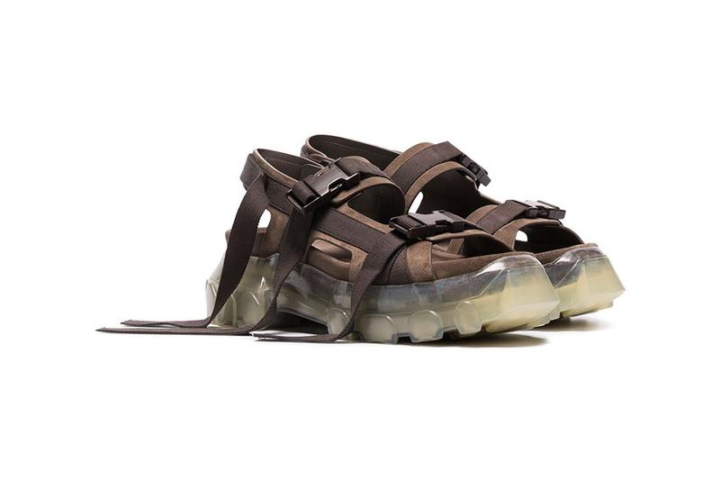 "Rick Owens Grey ""Tractor"" Suede Sandals release drop info pricing farfetch made in italy RU19S2815LRBOCW ""340 DUST/CLEAR SOLE"""