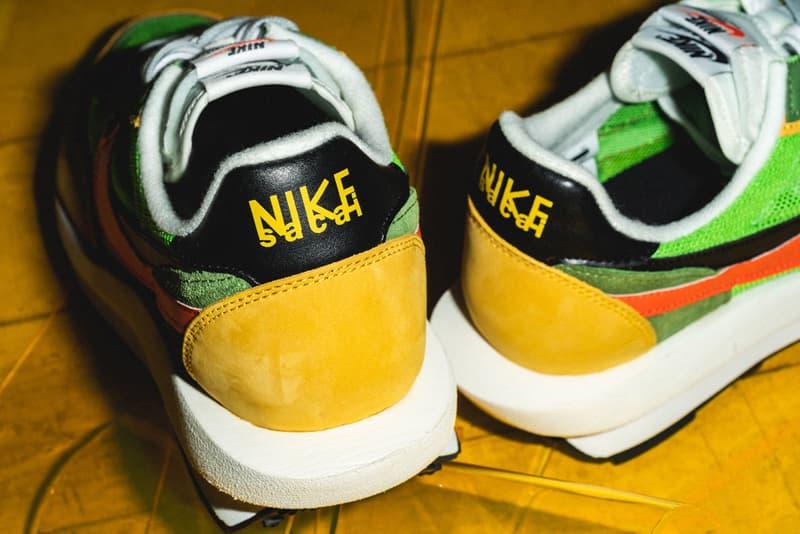 "sacai x Nike ""LDV With Waffle Daybreak"" Closer looks drop release info colorways flight club Green Gusto/Black-Varsity Maize-Safety Orange Varsity Blue/Del Sol-Varsity Red-Black"