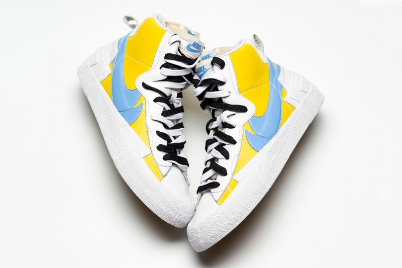 """d6f708aeab Sacai and Nike appear to have another colorway of their anticipated Blazer  Highs in the works. After seeing """"Black/White/Baby Blue"""" and """"Yellow/Red/Navy  ..."""