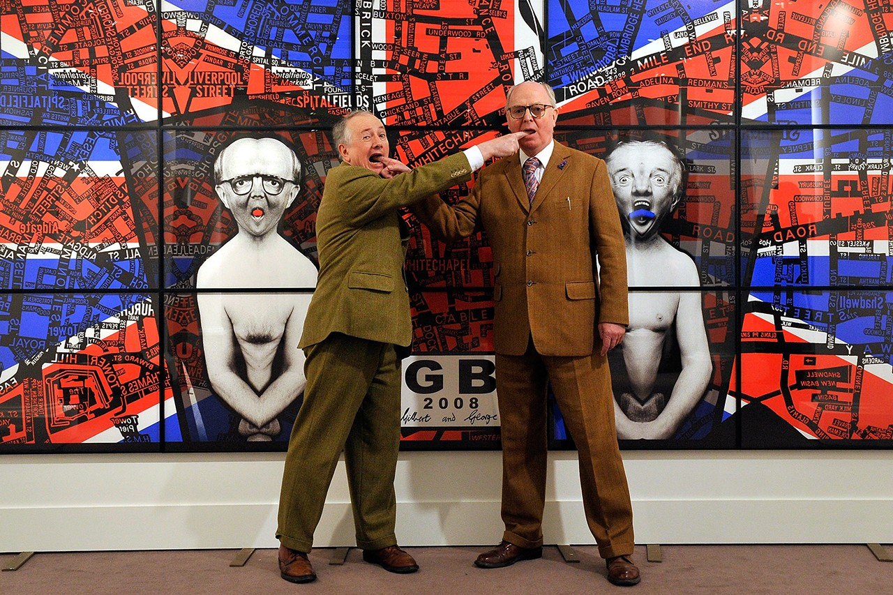 Supreme Gilbert & George Collab Feature Artist Series Art-Brut Anti-Establishment Art Pop Art Andy Warhol Pablo Picasso 1984 pictures dirty words pictures exhibition artworks photographs montage collage