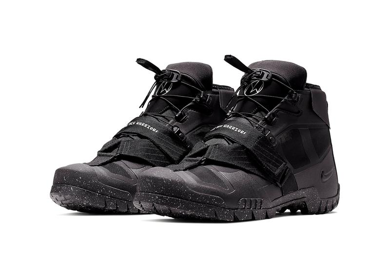 Undercover x Nike SFB Mountain Sneaker Info Sneakers Shoes Trainers Kicks Footwear Cop Purchase Buy Collab Collaboration Collaborative Silhouette Debuting 2015 Hiking Boot Boots Bill Bowerman World War II Service Battle Accoutrements Takashi Techy Details The New Warriors Printed Midfoot Black Sail Colorway