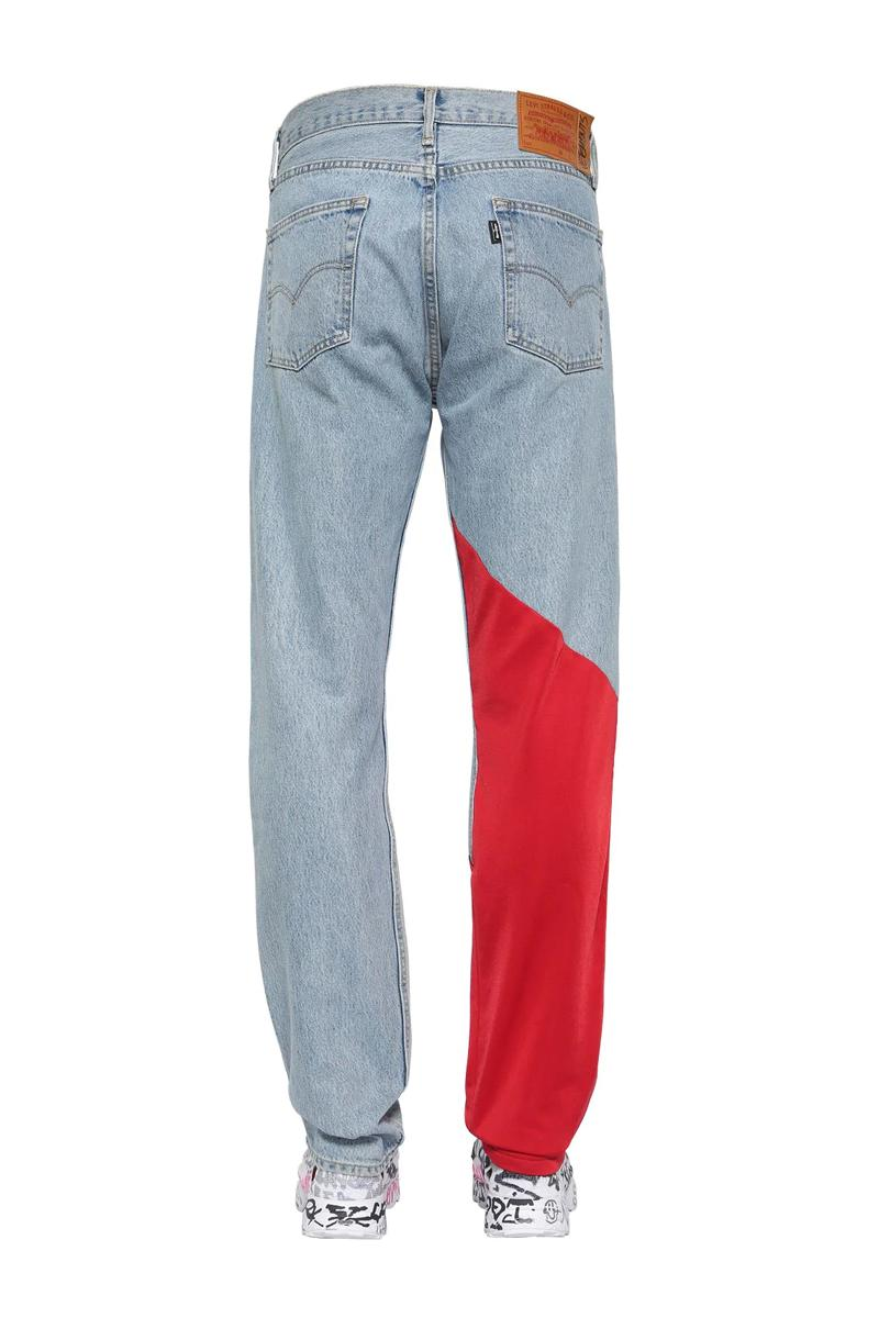 Vetements Jersey Detail Denim Jeans Release Washed Red LUISAVIAROMA Demna Gvasalia Levis Track Pants