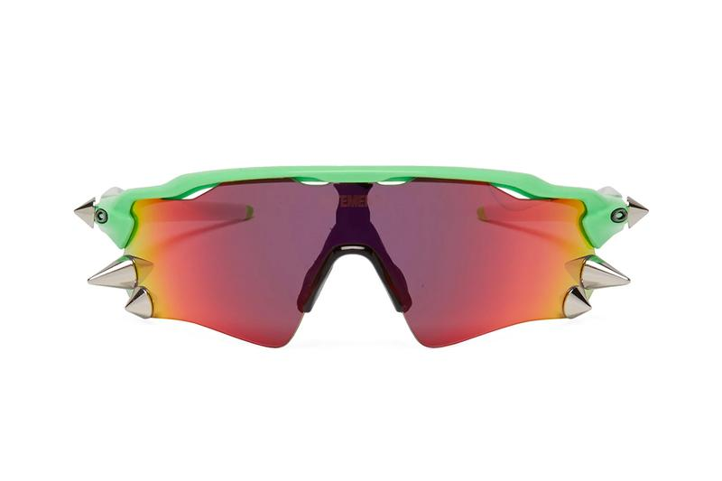 Vetements Oakley Spike Glasses 200 D 400 Iridescent Acetate Neon Spring Summer 2019 SS19 Engraved Logo USA Sports Sunglasses