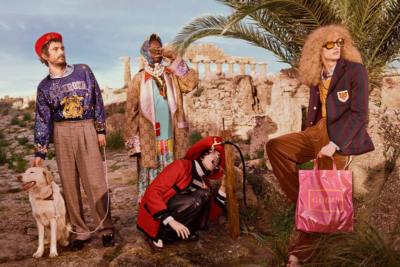 Gucci Pre Fall 2019 Campaign Bohemian Selinunte Archaeological Park Sicily 7th century BC Temple of Hera Creative Director Alessandro Michele Venice Beach Stereotypes hardcore punks rollerbladers bodybuilders surfers App Augmented Reality AR Advertising User Experience