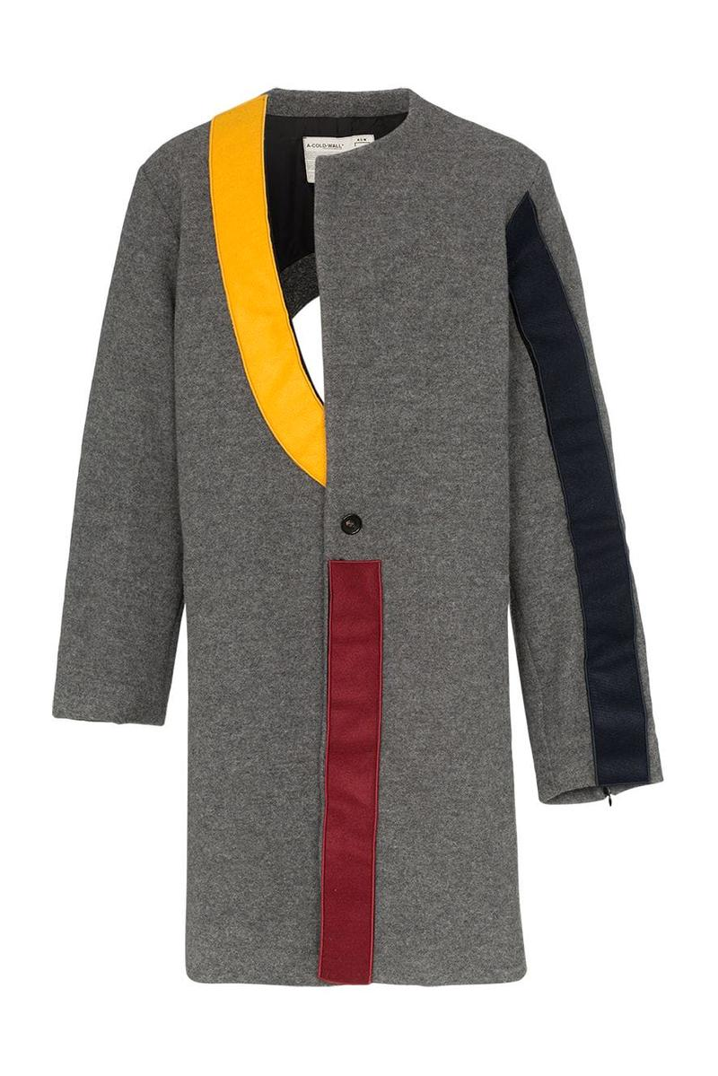 A-COLD-WALL Samuel Ross SS19 Spring Summer 2019 Contrast Panel Coat Asymmetric Geometric Cut Out Wool Construction Slashed Neckline Colorblocked Grey Black Yellow Red Avant-garde Where to Buy Browns Fashion