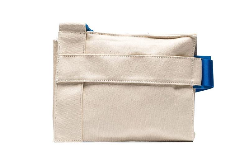 a cold wall acoldwall cream contrast strap asymmetric cotton messenger bag
