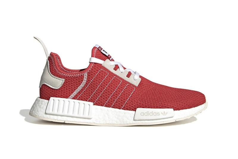 adidas NMD R1 Red 3003 Tab Racing Inspired SS19 Spring Summer 2019 Trefoil Stitched Three Stripes Leather Suede Panelling Cream Sole Plugs BOOST Retro Primeknit Mesh Release Information Drop Date First Look Where to Buy Cop