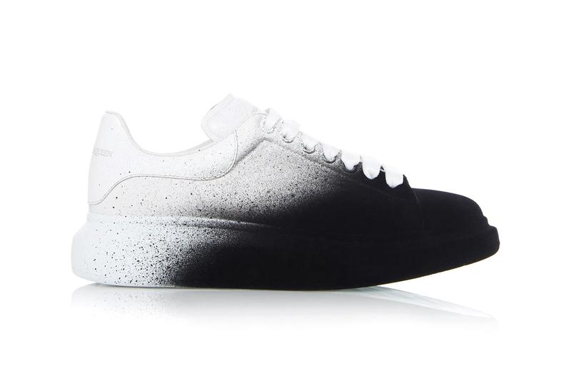 alexander mcqueen two tone leather low top sneakers black white Oversized
