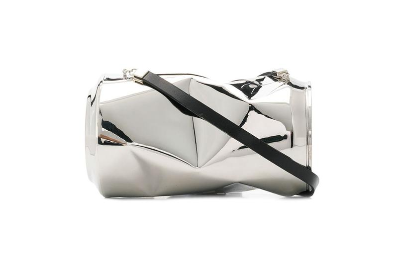AMBUSH Crushed Can Shoulder Bag Yoon Ahn accessory silver leather 12111493  SC13 SILVER drop date price release info FarFetch Retailer $3118 USD Trash Eclectic Design Art Piece