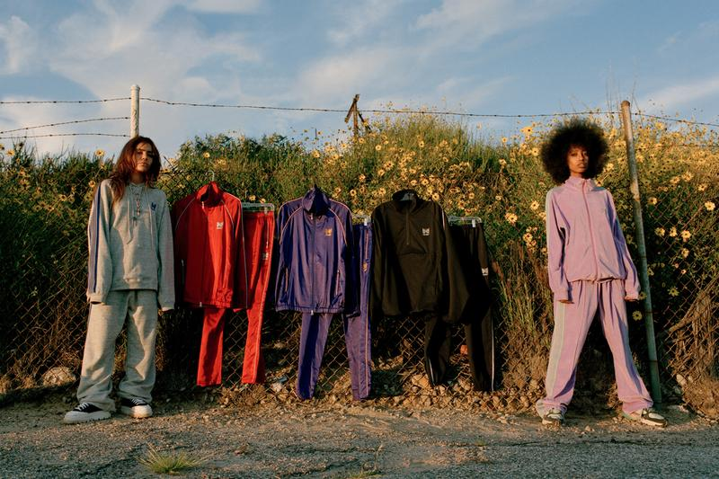 AWGE NEEDLES Spring Summer 2019 Capsule Collection Nepenthes A$AP Rocky Run-up Popover Jacket Side Line Seam Pocket Easy Pants Track Piping Classic Pullover Hoodie String Sweat black pink purple red grey black second