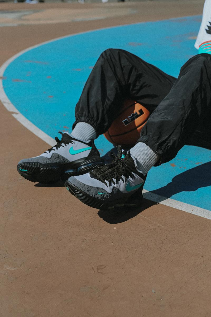 "atmos x Nike Lebron 16 Low ""Clear Jade"" Release collaboration exclusive lookbook bag NK HERITAGE SMIT bag colorway april 27 2019 price"